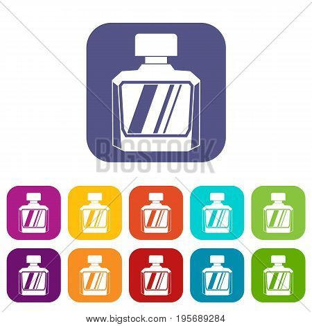 Jar of perfume icons set vector illustration in flat style In colors red, blue, green and other