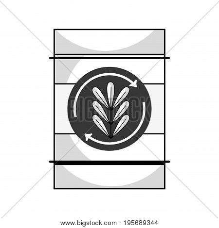 line tank with plant symbol to environment care vector illustration