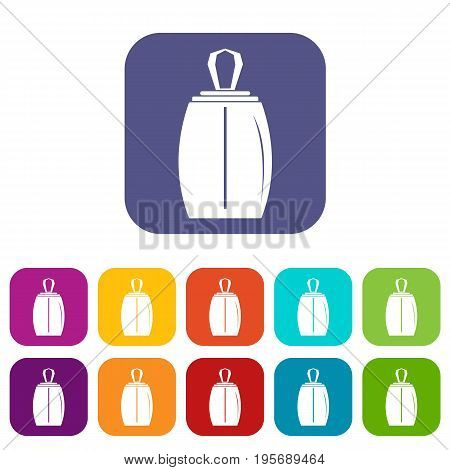 Elegant woman perfume icons set vector illustration in flat style In colors red, blue, green and other