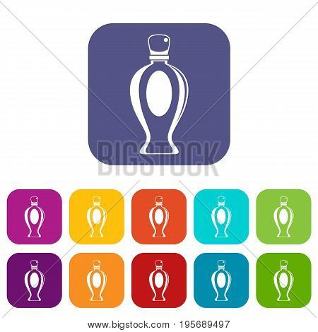 Perfume icons set vector illustration in flat style In colors red, blue, green and other