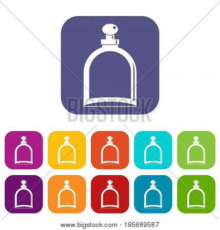White glass icons set vector illustration in flat style In colors red, blue, green and other