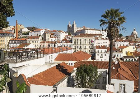 View of the Alfama District in Lisbon Portugal