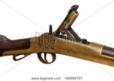 Close up of firing mechanism with open breach on antique civil war carbine rifle