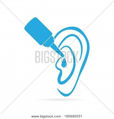 Ear drops blue icon medical sign icon