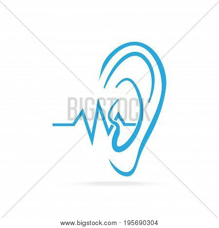 Deaf icon Hearing and ear blue icon disability to hear icon