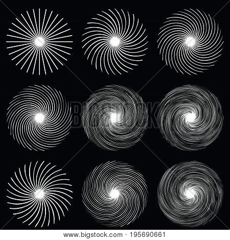 Spiral background. Sun vector illustration. Circular, radiating abstract shape pattern. Geometric design element series.