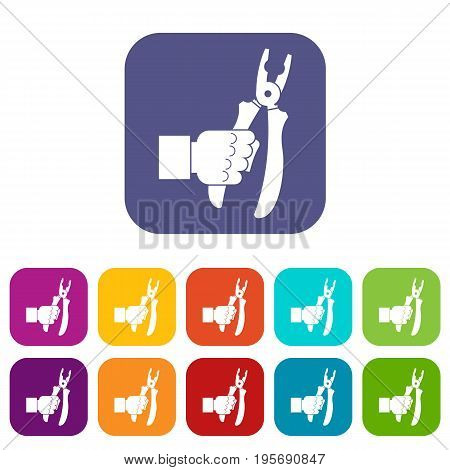 Hand holding chisel icons set vector illustration in flat style In colors red, blue, green and other
