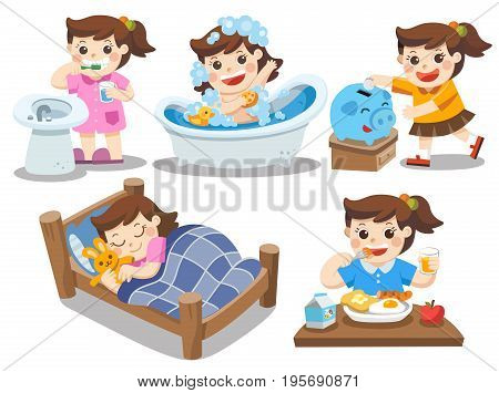 The daily routine of a cute girl on a white background. [sleep, brush teeth, take a bath, eat, saving money]. Isolated vector