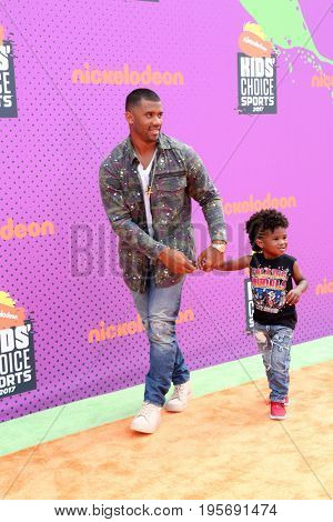 LOS ANGELES - July 13:  Russell Wilson, Future Zahir Wilb at the Nickelodeon Kids' Choice Sports Awards 2017 at the Pauley Pavilion on July 13, 2017 in Westwood, CA