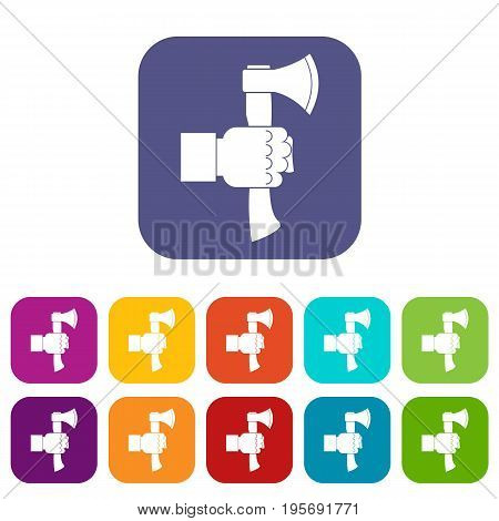 Hand holding axe with wooden handle icons set vector illustration in flat style In colors red, blue, green and other