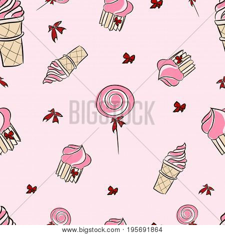 Seamless Pattern With Candies And Sweets - Ice Cream, Cupcakes, Lollipop, Candies. Candy Bar Sweets