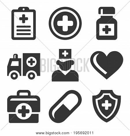 Health Care Medical Icons Set. Vector illustration