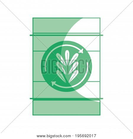 silhouette tank with plant symbol to environment care vector illustration