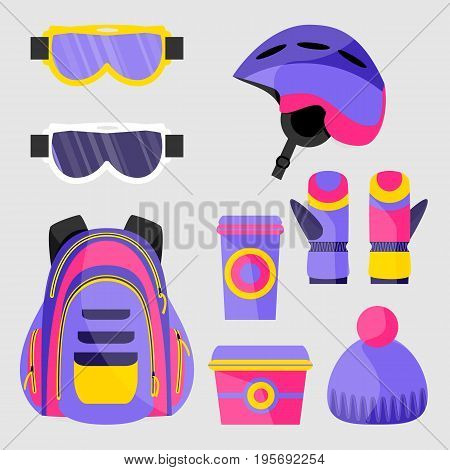 Skiing, snowboarding accessories - helmet, backpack, mask, gloves, lunch box, coffee cup, flat vector illustration isolated on white background. Set of flat vector skiing, snowboarding objects
