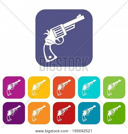 Vintage revolver icons set vector illustration in flat style In colors red, blue, green and other