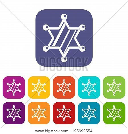 Sheriff star icons set vector illustration in flat style In colors red, blue, green and other