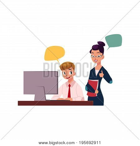 Female boss managing male employee working on computer, cartoon vector illustration isolated on white background. Female boss supervising male employee working in office, showing approval