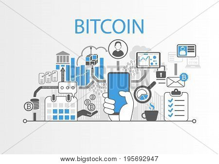 Bitcoin vector background illustration with hand holding smartphone and icons