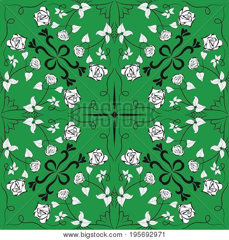 Seamless pattern in geometrical design that swirls with rose buds on green background