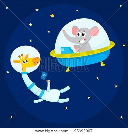 Cute little animal astronaut, spaceman characters, elephant in spaceship and giraffe wearing spacesuit, in open space, cartoon vector illustration. Elephant and giraffe astronauts, spacemen in space