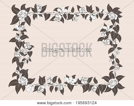Decorative frame of barbed branches, rose with dark leaves and bright buds of roses on the perimeter, for your congratulations and design greeting cards.
