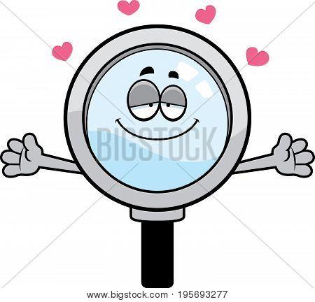 Cartoon Magnifying Glass Hug