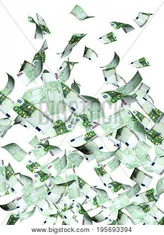 Flying banknotes of euro. Isolated on white background.  3d render