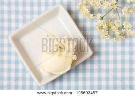 Top view of homemade elderberry blossom ice cream ball with fresh elderflowers