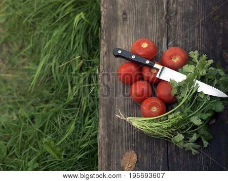 Bunch of fresh vegetables laid on a wooden board or rustic table. Overhead cropped view