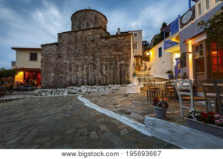ALONISSOS, GREECE - JUNE 17, 2017: View of the Chora village on Alonissos island in Sporades archipelago in Greece on June 17, 2017.