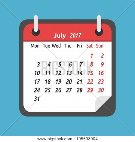 Monthly calendar for July 2017. Week starts on Monday. Time planning and schedule concept. Flat design. Vector illustration. EPS 8 no transparency