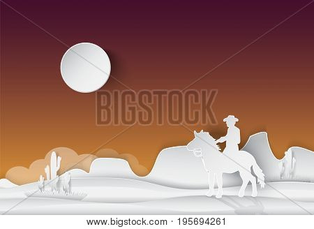 Cowboy and horse Saguaro Cactus in the desert nature background paper art style illustration