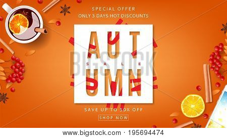 Orange beautiful web banner for autumn sale. Top view on composition with cup of mulled wine, rowan, cinnamon sticks on orange background. Vector illustration with discount offers.