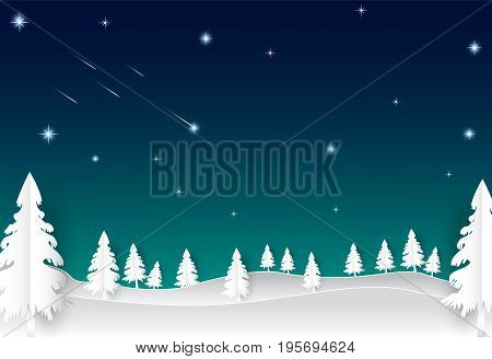 Night sky with star and comet landscape nature background paper art style illustration