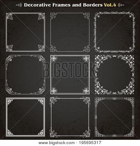 Decorative square frames borders backgrounds design elements set 4 vector