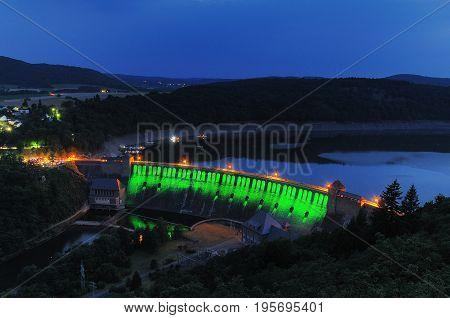 Edersee green Illuminated Dam at the twilight
