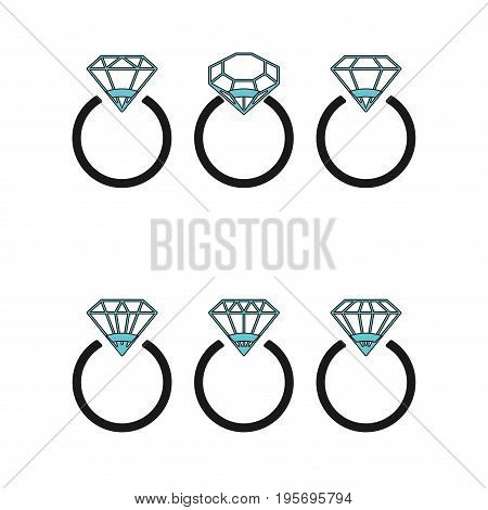 Diamond engagement ring icons with crystals. Vector Illustration. Black circle with shiny brilliant stone. isolated on white background. Flat fashion design element. Symbol engagement, gift, expensive.