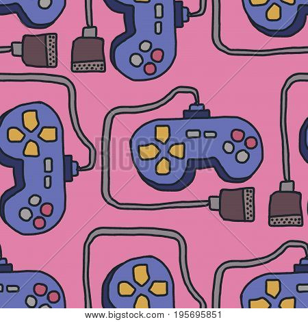 Joystick Pattern. Retro Gamepad Background. Video Games Controller Ornament
