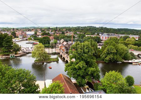 View of Stratford-Upon-Avon from the air, Warwickhire, England, the birthplace of William Shakespeare, selective focus