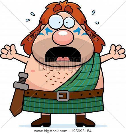 Scared Cartoon Celtic Warrior