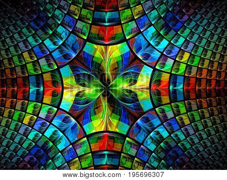 Bright multicolor fractal background - abstract computer-generated image. Backdrop with flower and petals like stained-glass, kaleidoscope or mosaic. For covers, puzzles, web design.