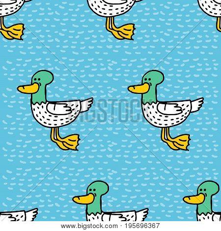 Duck Cartoon Pattern. Drake Drawing Ornament. Bird Background