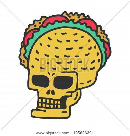 Skull Taco Drawning. Mexican Skeleton Head With Tacos Cartoon Style