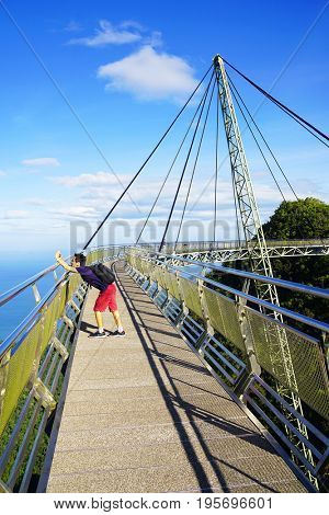 LANGKAWI ISLAND, JANUARY 17, 2017 - Sky Bridge, wellknown landmark in Malaysia, Asia