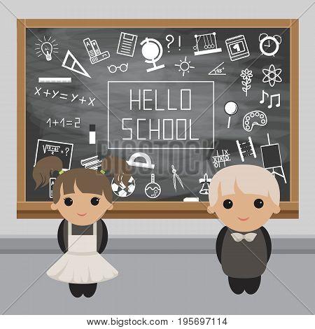 Schoolboy and Schoolgirl in a classroom near the school board