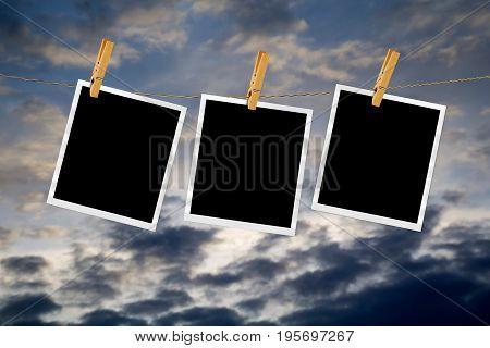 Old Film Frame Over Sky