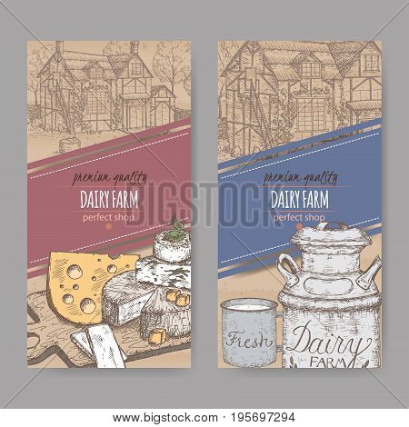 Two dairy farm shop labels with farmhouse, color milk can, mug and cheese plate. Placed on cardboard texture. Includes hand drawn elements.