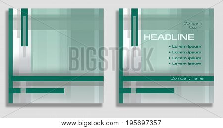 Geometric abstract background with sample of text arrangement. Square template in green mint and gray hues. Layout design for covers brochures posters flyers prospectus web sites annual reports
