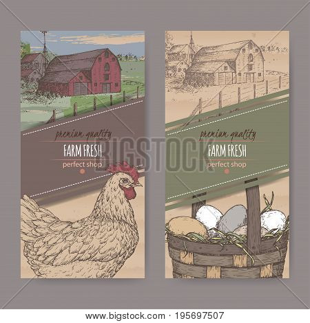 Set of two color farm fresh labels with farmhouse, chicken and eggs in wicker basket on cardboard texture. Includes hand drawn elements.