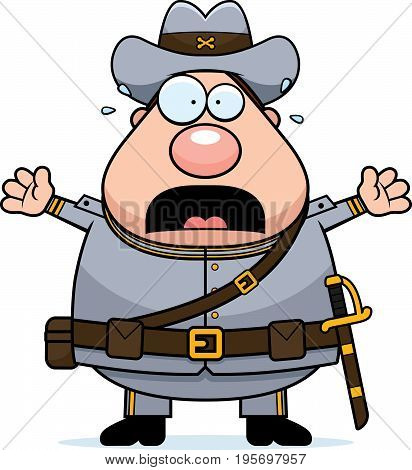 Scared Cartoon Confederate Soldier
